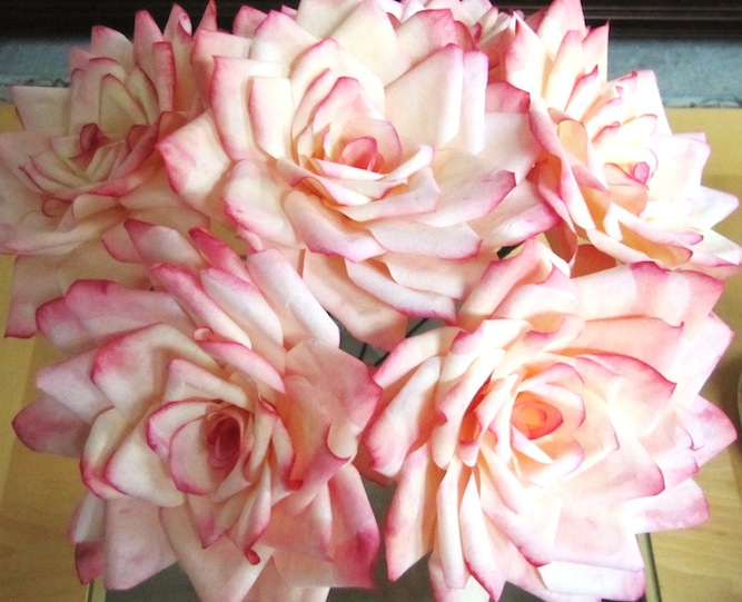pink dyed coffee filter roses