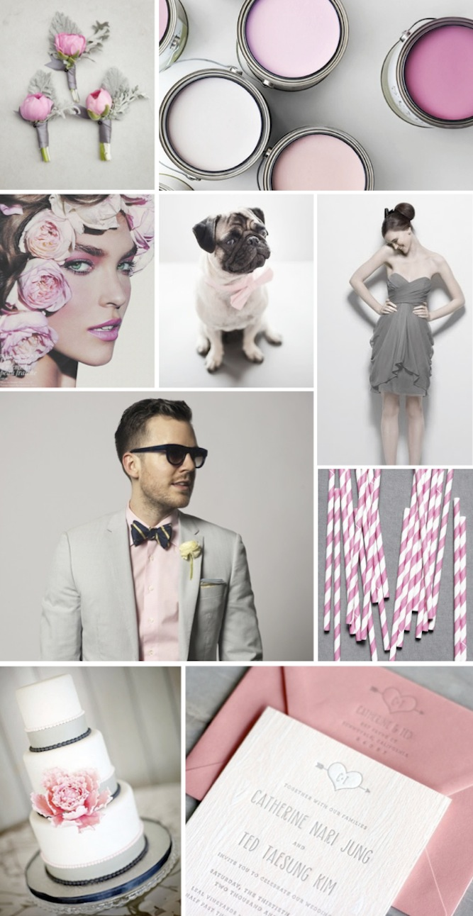 grey and pink wedding inspiration and ideas