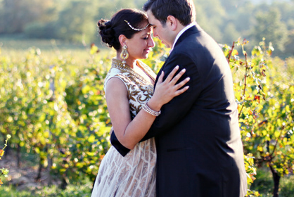 purple and gold vineyard wedding in France
