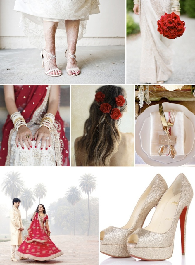 red, white and pale gold wedding inspiration