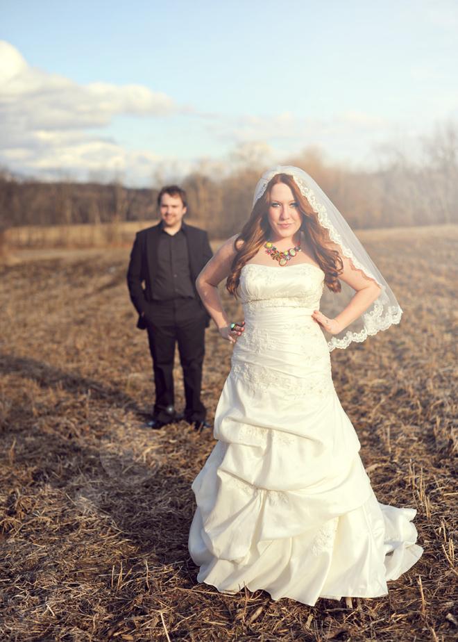 Quirky Purple & Yellow Wedding: A Handmade Veil & Bar Reception 8