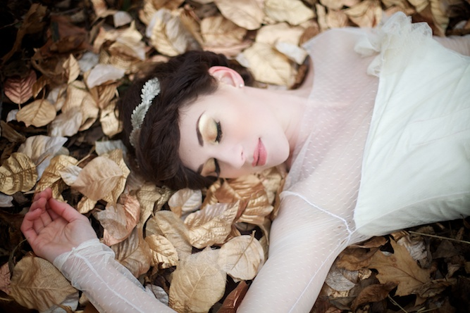 sleeping bride in the woods Simply Jessie Photography