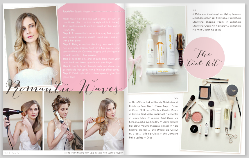bridal beauty feature in Reverie Magazine