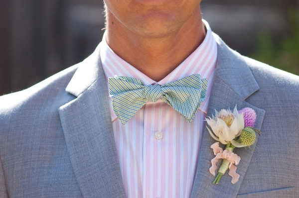 pastel wedding ideas for the groom, bow tie