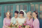 pink and mint green pastel lace bridesmaids dresses