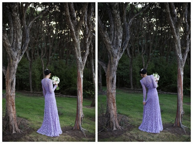 purple lace wedding dress