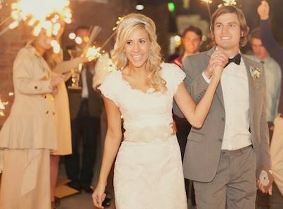 sparkler send off at romantic vintage wedding