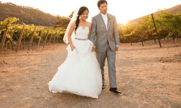 Sunshine Yellow, Pink & Grey Vineyard Wedding