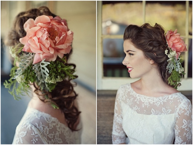 The coral cascading bouquet was made with large coral peonies, yellow