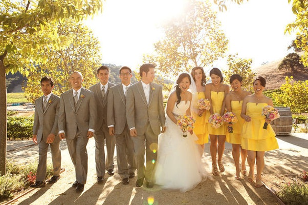 Yellow Bridesmaid Dresses And Grey Suits 92