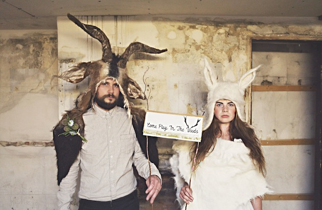bride and groom wearing animal headwear, animal hats | Where The Wild Things Are wedding