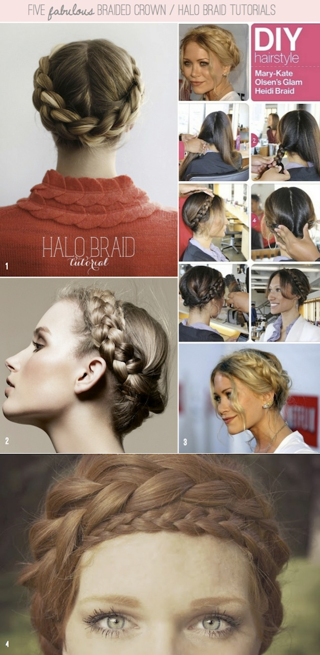 How To Halo Braid / Braided Crown DIY Tutorials