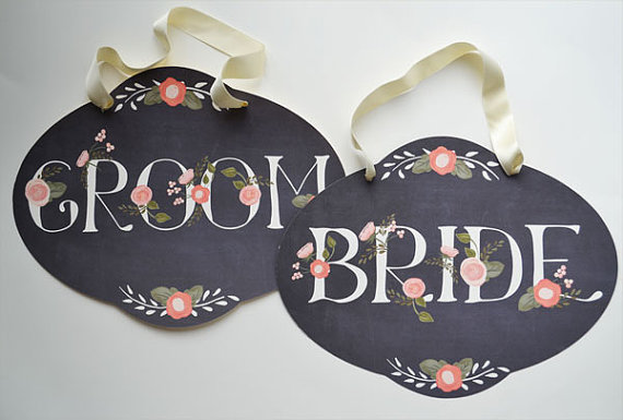 chalkboard bride and groom wedding signs