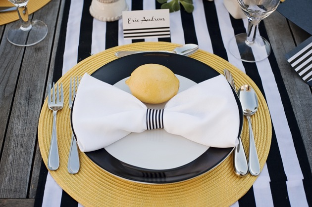 black and white stripes and lemon table setting