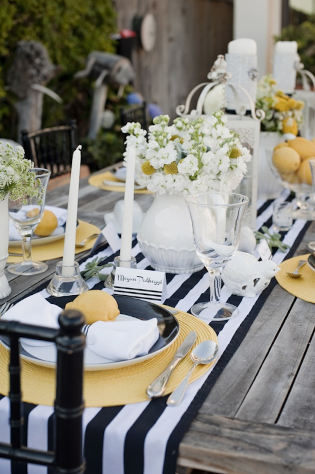 Modern Yellow And Black And White Stripes Wedding Ideas