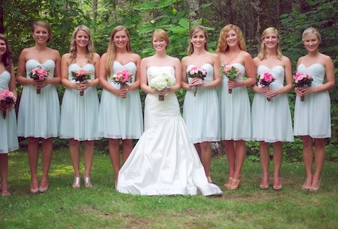 mint green bridesmaids dresses by Donna Morgan