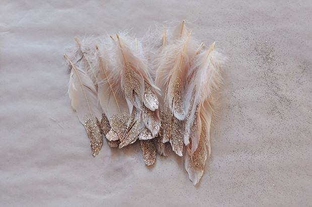 glitter feather diy