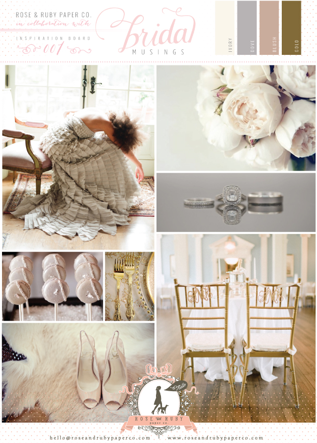 blush, Dove Grey and Gold Wedding Ideas Rose and Ruby Paper Co.