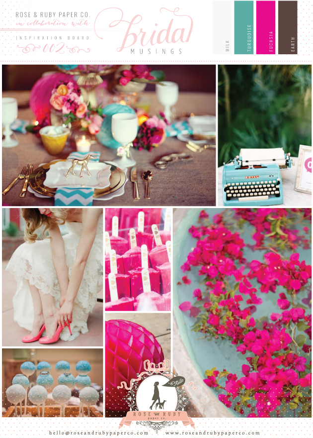 Rose-&-Ruby-Wedding-Inspiration-Board-2-Turquoise-Fuchsia-Colourful-Retro
