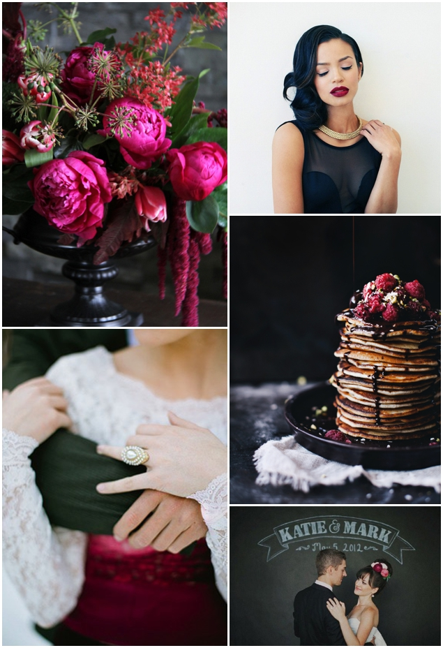 Chic Black, White & Berry Wedding Inspiration Board