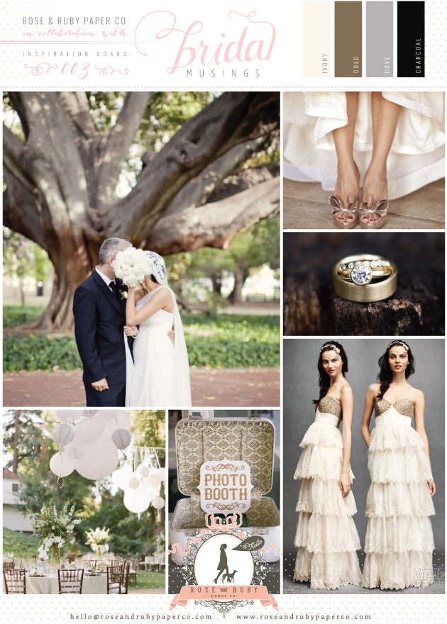 Rose and Ruby Wedding Inspiration Board Glamourous Outdoors Gold Grey Charcoal