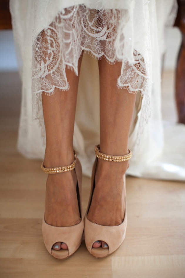 blush pink bridal shoes with gold ankle straps