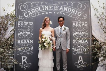chalkboard typography decor for wedding ceremony