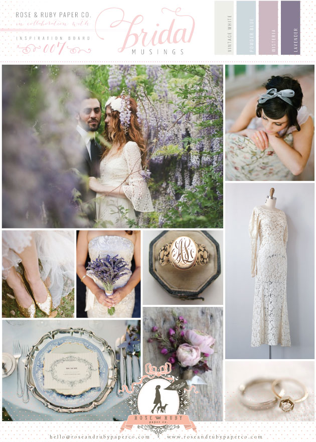 Powder Blue & Lavender Wedding Inspiration Board by Rose & Ruby