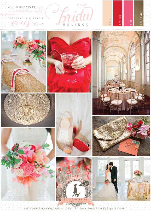 red, pink and gold wedding inspiration and ideas