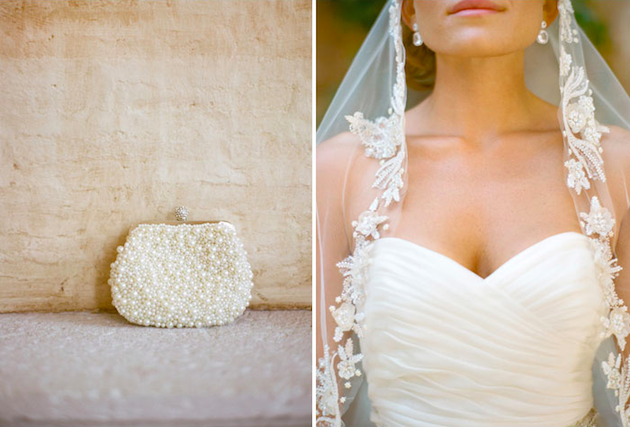 Pearl bridal clutch and lace mantilla veil