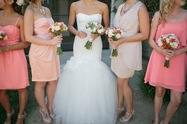 lace mermaid wedding dress, ombre pink bridesmaids | Troy Grover Photographers