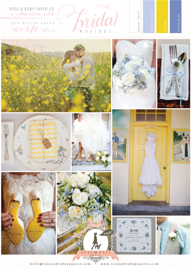 Spring Wedding Inspiration Board Yellow & Powder Blue