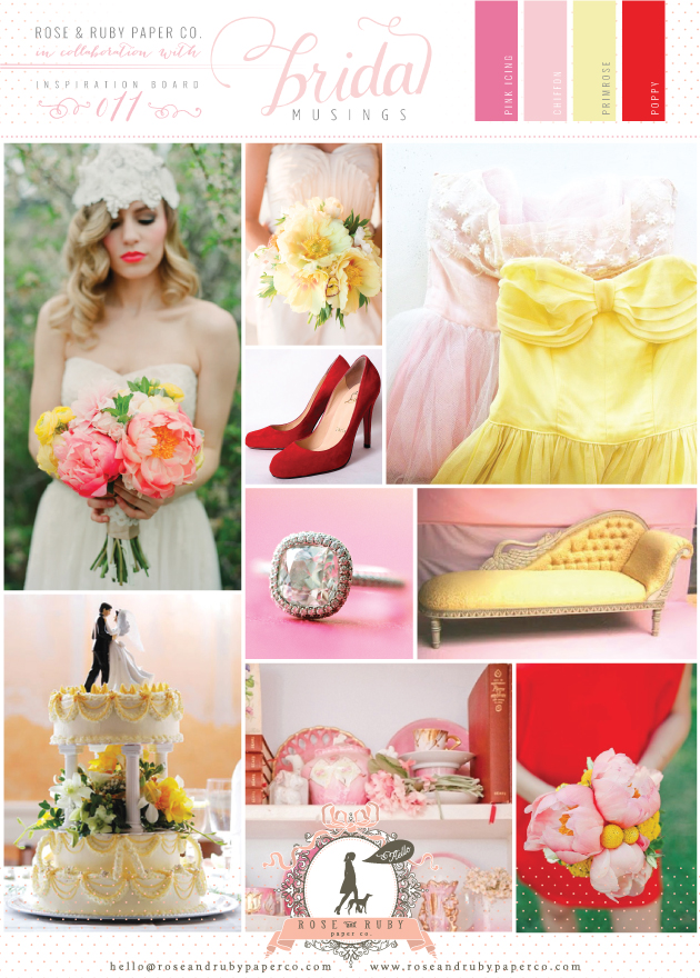 Red, Yellow and Pink Wedding Inspiration Board by Rose and Ruby Paper Co