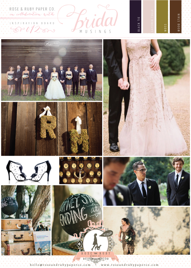 Rustic gold, black, white and moss green wedding inspiration board