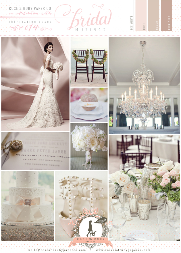 Blush Pink & Lace Wedding Inspiration Board By Rose & Ruby Paper Co