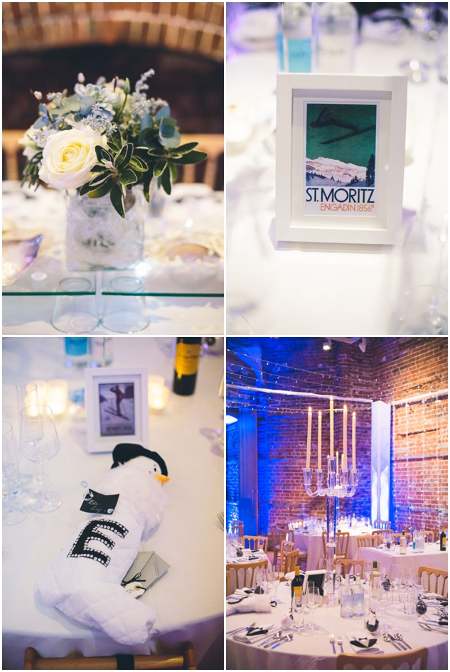 magical winter wedding reception decor