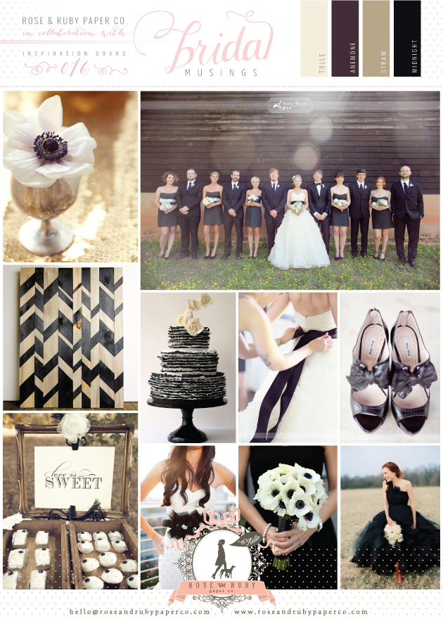 Monochrome wedding inspiration board