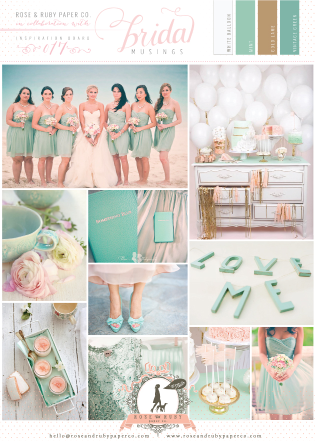 Mint, blush and gold wedding inspiration