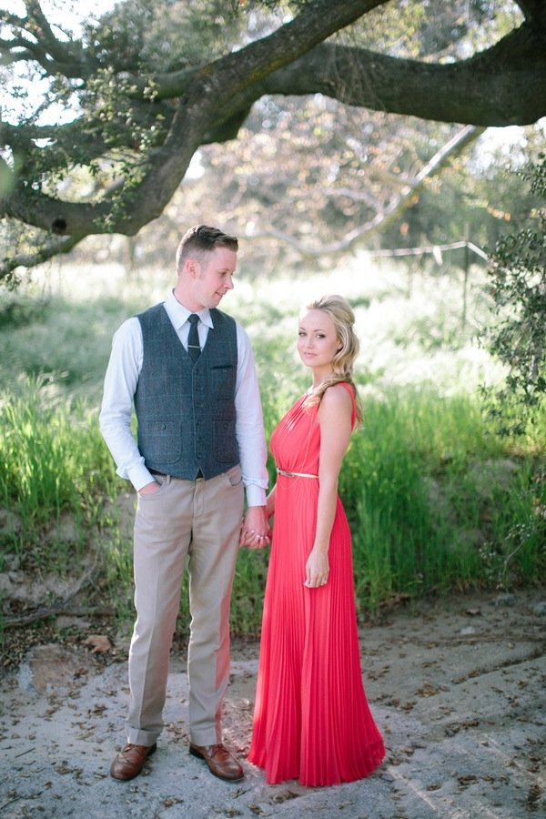 Beautiful Red Dress Engagement Shoot