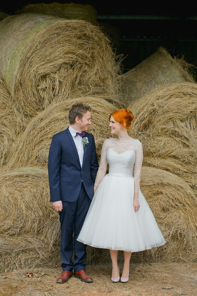 Flame haired beauty in a 1950s inspired couture gown by karen willis