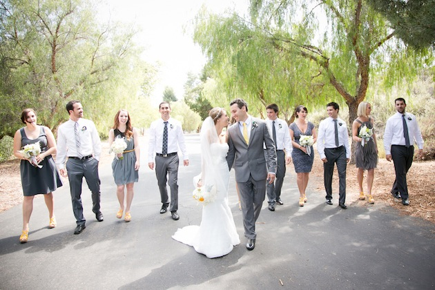 Yellow And Grey Wedding Filled With Pin Wheels