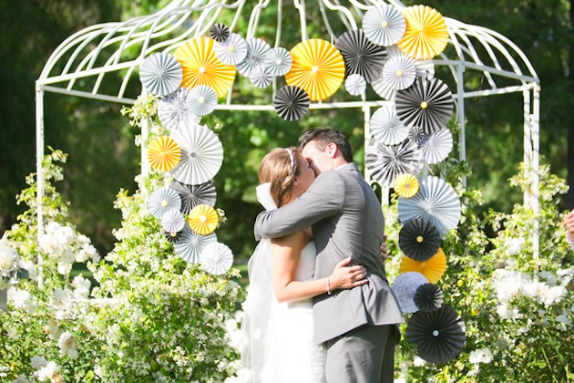 yellow and grey pin wheel wedding