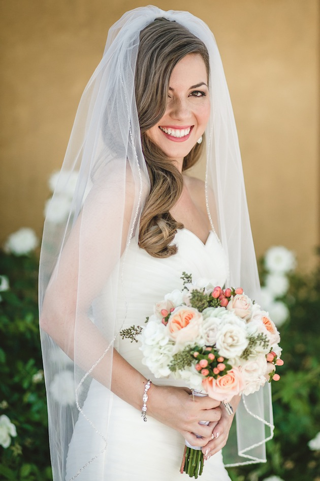 Bridal Hair Down With Flowers : Navy and peach diy wedding from anita martin photography