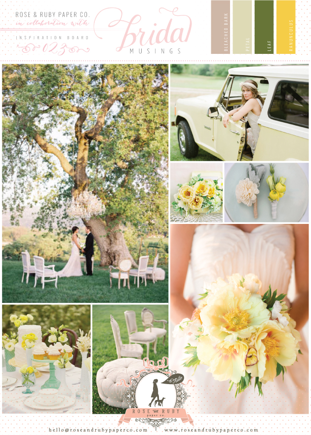 yellow and green outdoor wedding inspiration board
