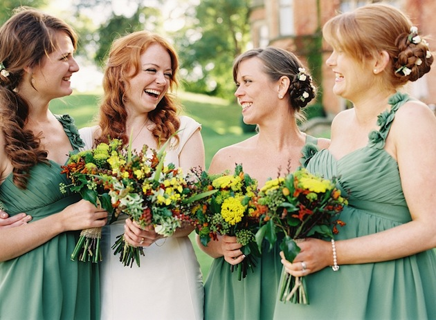 green bridesmaids dresses, Fall wedding | Depict Photography | Bridal Musings