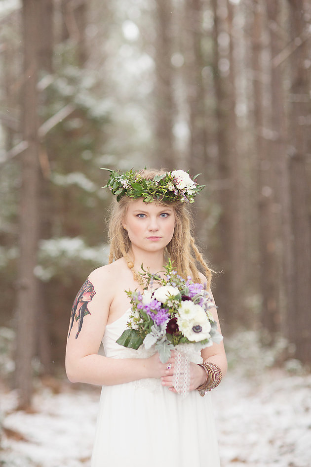 Magical Snow And Lavender Rustic Winter Wedding