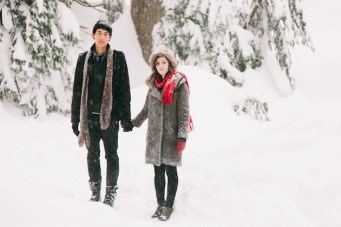 Beautiful, Snowy Engagement Shoot In The Woods