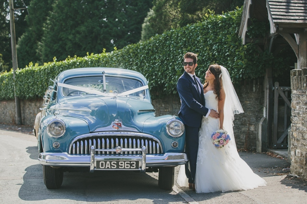 bride and groom by vintage wedding car | Mckinley-Rodgers Photography (14)