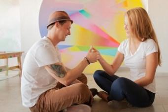 Unique Pastel Paint Themed Engagement Shoot