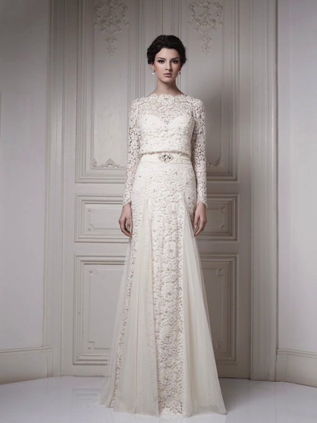 long sleeve simple lace wedding dresses